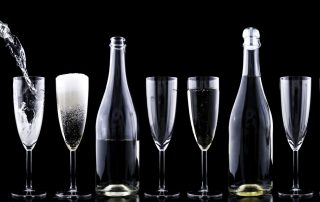 Champagne flutes and bottles