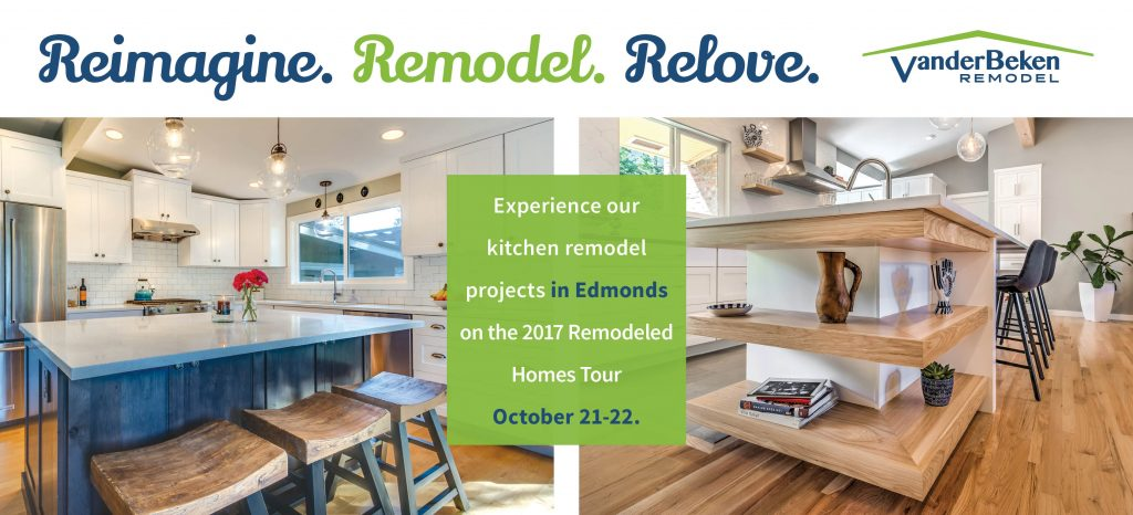 vanderBeken Remodel's postcard invitation to the 2017 Remodeled Homes Tour features 2 kitchen projects